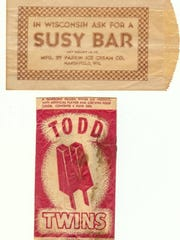 Wrappers from the famous Susy Bar and Todd Twins ice