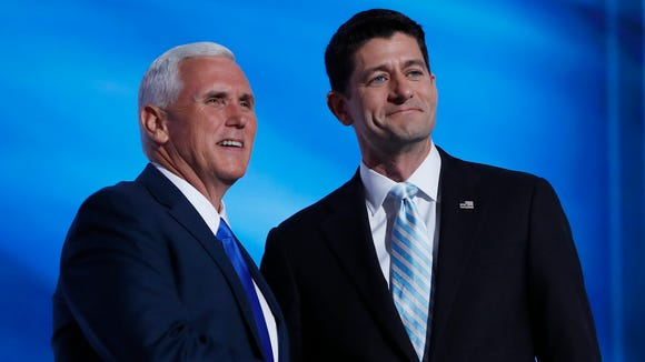 House Speaker Paul Ryan, R-Wis., introduced Indiana Gov. Mike Pence, the Republican vice presidential nominee, on Wednesday, July 20, 2016, the third day of the Republican National Convention in Cleveland.