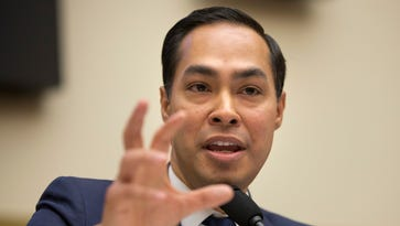 In this July 13, 2013, photo, House and Urban Development Secretary Julian Castro testifies on Capitol Hill in Washington. Castro is being considered by Hillary Clinton as a vice presidential pick. (AP Photo/Pablo Martinez Monsivais, File) ORG XMIT: WX204
