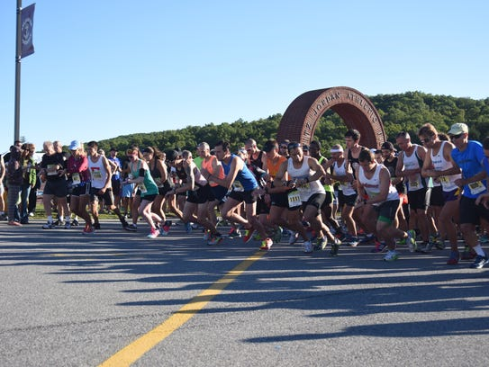Runners in the half-marathon portion of the 2015 Dutchess