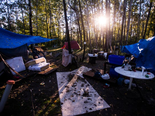 Tents, a common cooking area, and even a make-shift