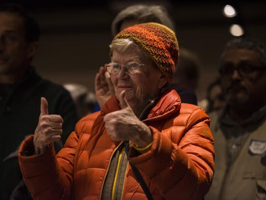 Linda Hartwell of South Burlington gives a thumbs up