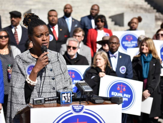 Cassandra Overton-Welchin, executive director of Mississippi Women's Economic Security Initiative, speaks at a news conference at the state Capitol Tuesday regarding the equal pay initiative and House Bill 717. The double-referred bill reached a deadline for vote Tuesday.