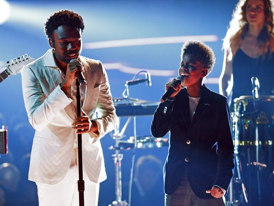 Recording artists Childish Gambino and JD McCrary perform onstage during the 60th Annual GRAMMY Awards at Madison Square Garden on Jan. 28, 2018, in New York City.