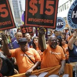 Activists rally for a $15 minimum wage in New York on Nov. 10, 2015.