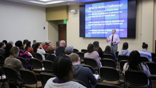 The Florida State University Center for the Advancement of Human Rights welcomed Professor Terry Coonan who opened the first day of a three day long conference in the Turnbull Center, an informational way to close a month of human trafficking awareness.(1/31)