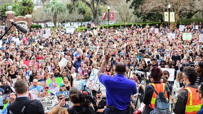 Tallahassee Mayor Andrew Gillum speaks at the March on Gun Control rally at the Westcott Building at Florida State University on Feb. 21.