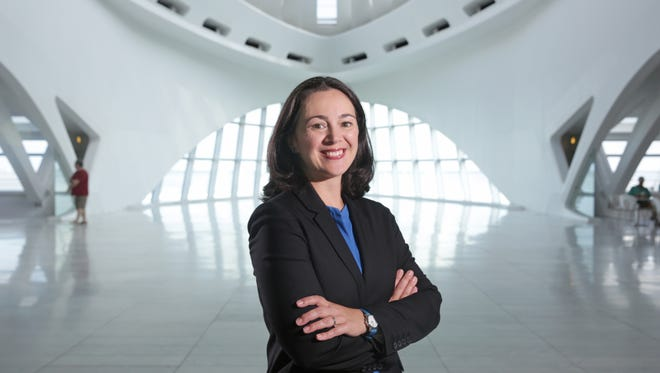 Marcelle Polednik the new Milwaukee Art Museum director, stands in the museum's Windhover Hall. She wants to work toward creating an art-focused mission for the museum and improving permanent collection.