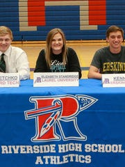 Riverside seniors being recognized for moving on to college athletics are, from left, Maxie Riese (lacrosse, Erskine), Luke Fetchko (baseball, Guilford Tech), Liz Standridge (softball, Laurel), Kenny Rado (soccer, Erskine) and Abby Farr (volleyball,  Jacksonville State).