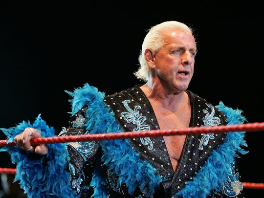 Ric Flair looks on while awaiting the entrance of Hulk Hogan during the Hulkamania Tour at the Burswood Dome Nov. 24, 2009 in Perth, Australia.