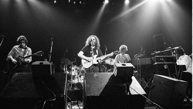 The Grateful Dead in concert at Madison Square Garden on Jan. 7, 1979. Left to right, Bob Weir, Jerry Garcia, Phil Lesh and Keith Godchaux.