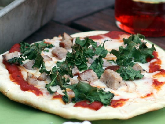 Smoked Sausage, Kale and Smoked Gouda Grilled Pizza,