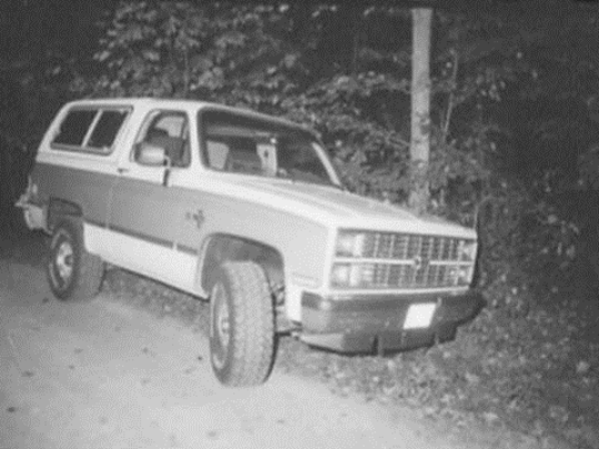 Jane Marie Prichard's Chevrolet Blazer is shown in a photo released by the New Castle County Police Department. Investigators scoured the vehicle for clues about her 1986 killing, which remains unsolved to this day.