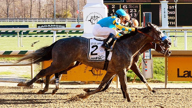 El Kabeir, outside, took Saturday's City of Laurel Stakes by a nose.
