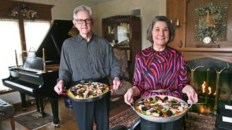 Great Hosts Sam and Mary Alice Wann are ready for a musical party in their Whitefish Bay home.