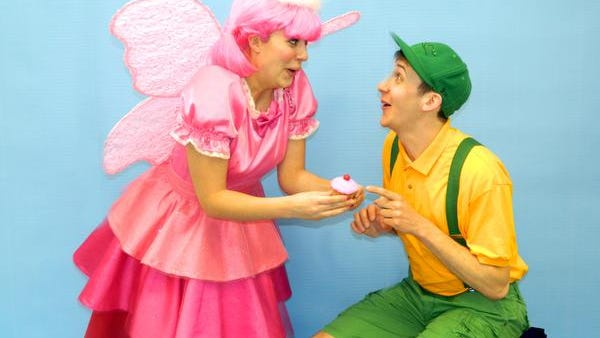 "Sarah Biddle and Max Cove in ""Pinkalicious"" at Walnut Street Theatre."