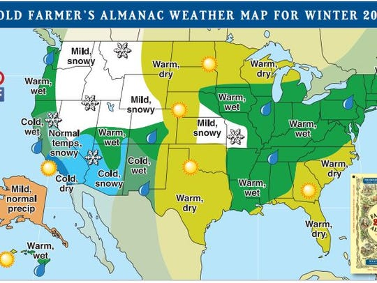 The Old Farmer's Almanac weather map for the winter