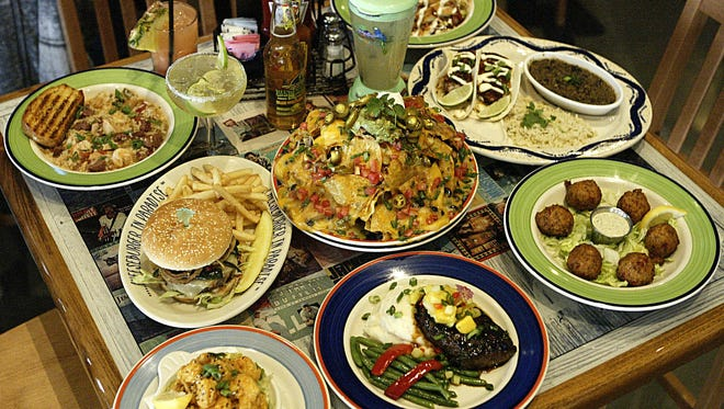 Food and drink choices  at Jimmy Buffett's Margaritaville restaurant.