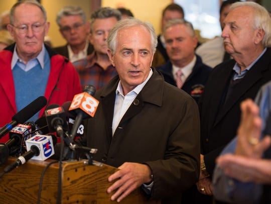 Sen. Bob Corker speaks during a press conference, Friday,