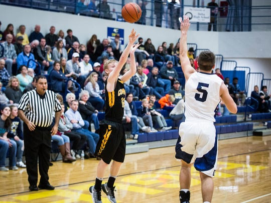 Cowan's Declan Gill shoots against Delta during the