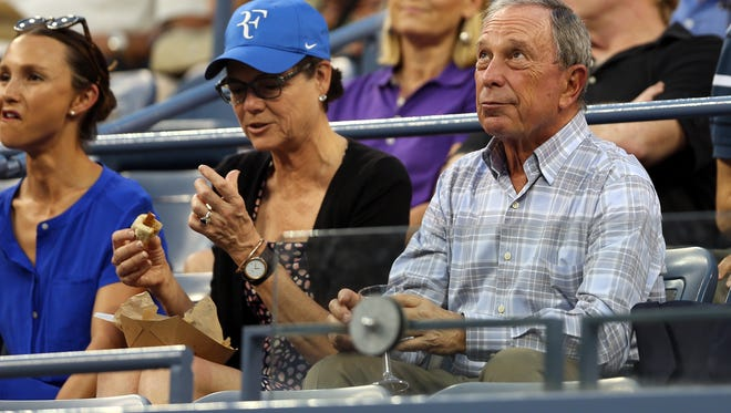 NEW YORK, NY - SEPTEMBER 02:  Former New York City Mayor Michael Bloomberg watches Roger Federer of Switzerland play against Roberto Bautista Agut of Spain during their men's singles fourth round match on Day Nine of the 2014 US Open at the USTA Billie Jean King National Tennis Center on September 2, 2014 in the Flushing neighborhood of the Queens borough of New York City.  (Photo by Matthew Stockman/Getty Images) ORG XMIT: 507843093 ORIG FILE ID: 454520260