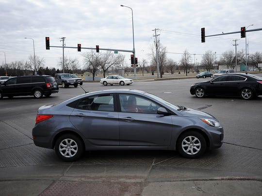 The intersection of 12th Street and Kiwanis Avenue on Wednesday, March 18, 2015, in Sioux Falls, S.D. 40 crashes, 9 injuries since Jan. 2013. Wear and tear on the concrete is causing problems in this intersection, Hoftiezer said. The joints holding concreate panels together are in rough shape, and as they deteriorate, sensors under the road that used to detect vehicle traffic have failed.