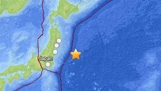 The U.S. Geological Service map shows the epicenter of a major earthquake east of Japan on Oct. 25, 2013.