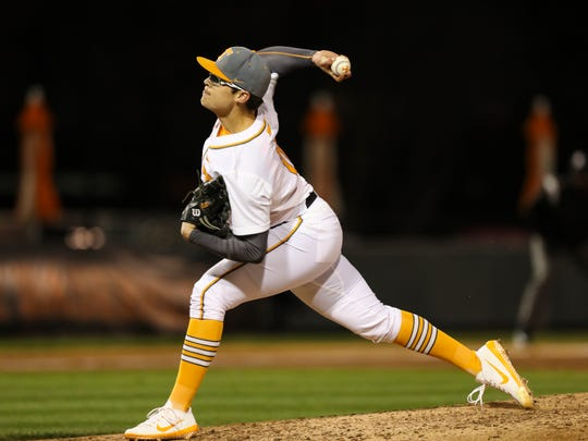 Tennessee's Kyle Serrano pitches against Cincinnati on March 10 at Lindsey Nelson Stadium.