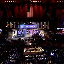 NEW YORK, NY - MAY 08:  A general view during introductions proir to the start of the first round of the 2014 NFL Draft at Radio City Music Hall on May 8, 2014 in New York City.  (Photo by Cliff Hawkins/Getty Images)