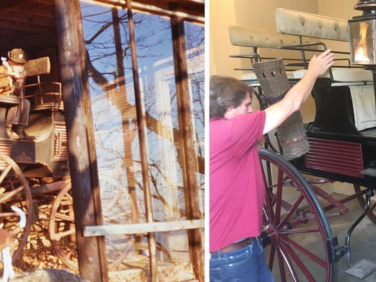 """Seat Break"" carriage with Dale and Lisa Brumfield in storage inside Goose Chase, 1968, and after restoration today at Maymont, with Armistead Wellford."