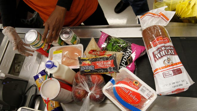 Items at a ShopRite in Philadelphia are purchased with food stamps April 23, 2012. Pennsylvania is one of the states using a wrinkle in the law to block federal food stamp cuts.
