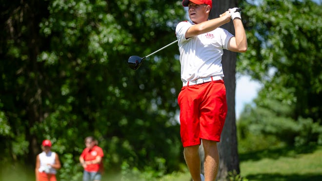 Brady Kaufmann tees off on the No. 6 hole as he competes against Chase Laack in the championship flight of the Boys 16-17 Division on the final day of the 2020 Kone Elevator Drysdale Golf Tournament at Bunn Golf Course, Thursday, July 16, 2020, in Springfield, Ill.