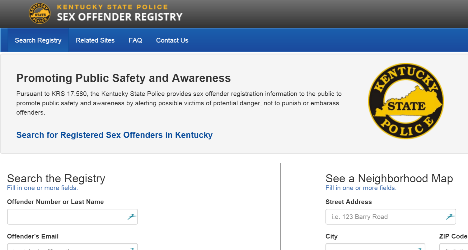 Kentucky state police sexual offender registry