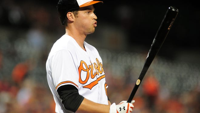 Baltimore Orioles designated hitter Trey Mancini (67) looks on prior to his first at bat in his major league debut against the Boston Red Sox at Oriole Park at Camden Yards.