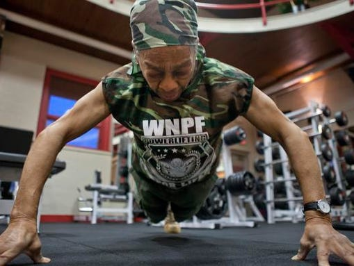 Fingertip pushups also are part of Willie Murphy's