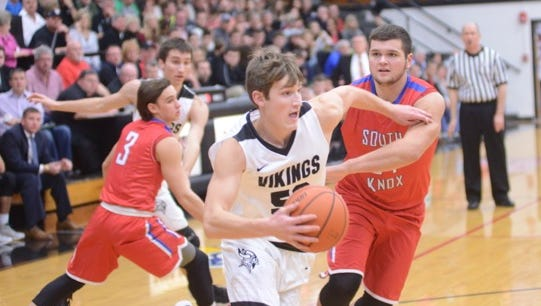 Trevor Lengacher drives to the hoop during Barr-Reeve's sectional loss to South Knox.