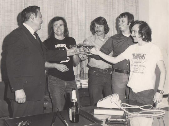 Toasting FM100's ratings success in 1972 are general