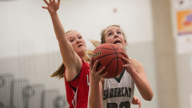 Britt Mishak of Fossil Ridge looks up at the basket for a shot in a game against Loveland Wednesday, February 3, 2016.