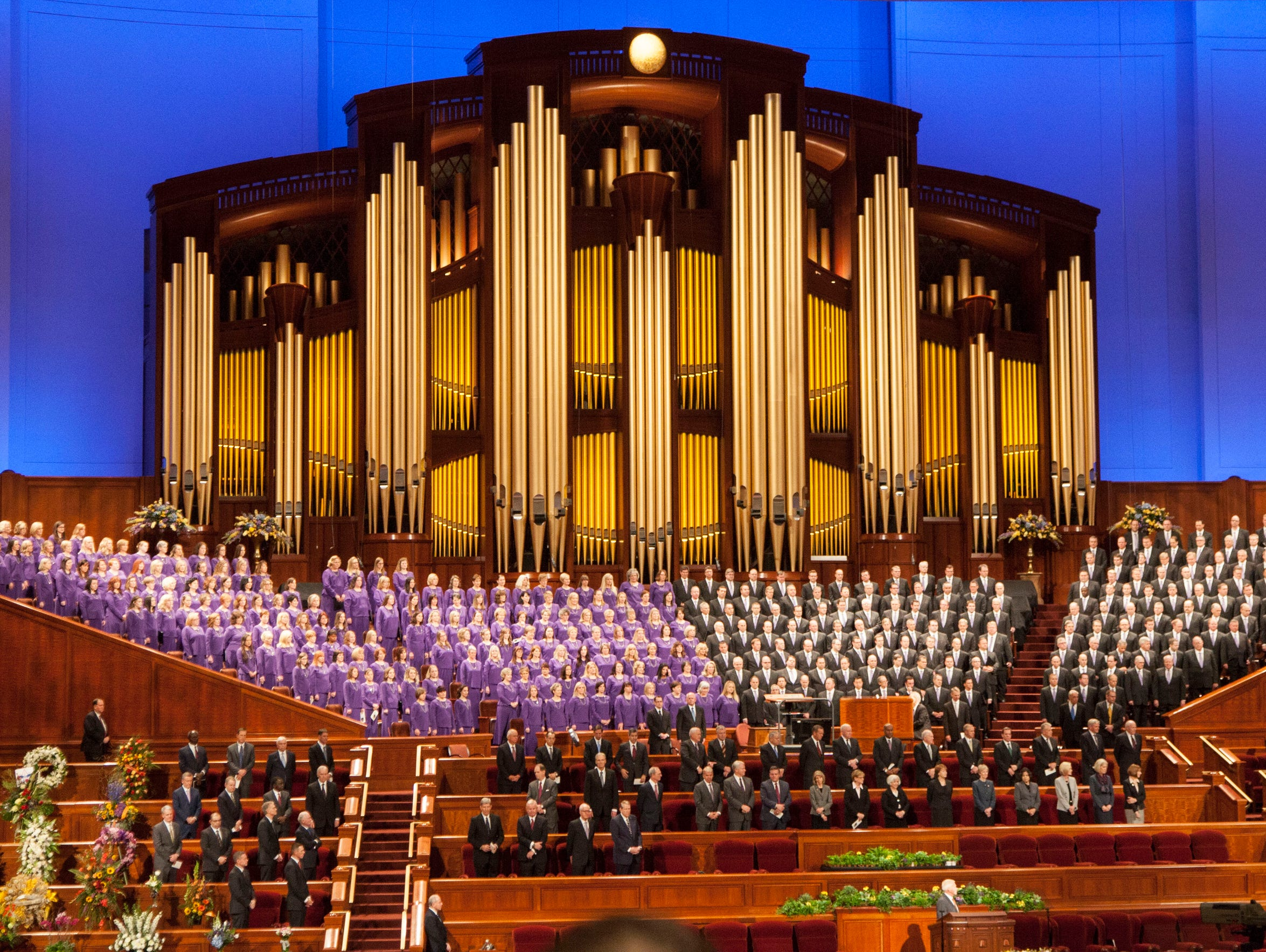 The LDS Conference Center in Salt Lake City is where Mormons gather twice a year to hear teachings from LDS leaders.