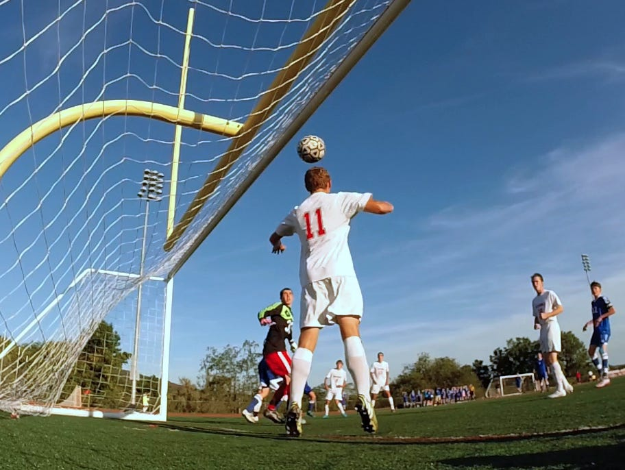 The ball goes into the net over Tappan Zee's Joseph Stahl, but it didn't count since it went in directly from a throw-in Sept. 24, 2015. Pearl River won1-0.