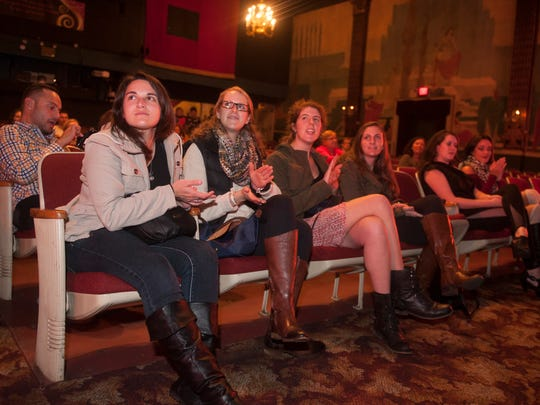 Jefferson bio-med science PHD students listen as cast members of the Ritz Theatre Company's production of 'Rent' answer questions from audience members after a performance at the Ritz Theatre in Haddon Township.  Front row (from left) are Alison Moss, Megan Roche, Tess Cherlin, and Lindsey Mayes, all of Philadelphia.