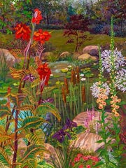 """""""Cattails and Cannas"""" by John Powell."""
