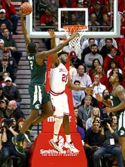 Michigan State Spartans forward Jaren Jackson Jr. (2) dunks against Indiana Hoosiers forward Freddie McSwain Jr. (21) in the first half at Assembly Hall.