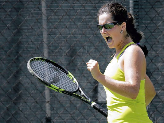 North Carolina's Jamie Loeb celebrates her win over No. 1 seed Taylor Townsend on Friday at the Hunt 2015 $25,000 Women's Tennis Classic at Tennis West.