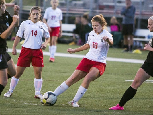 Susquehannock's Taylor Tannura scores during the first half of Monday's District 3 Class AA first round game against Twin Valley. Tannura's goal gave the Warriors a two-goal lead and Susquehannock moved on with a 3-0 win vs. the Raiders.
