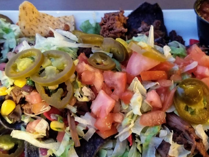 The will-be famous jackfruit nachos at Lafayette Brewing