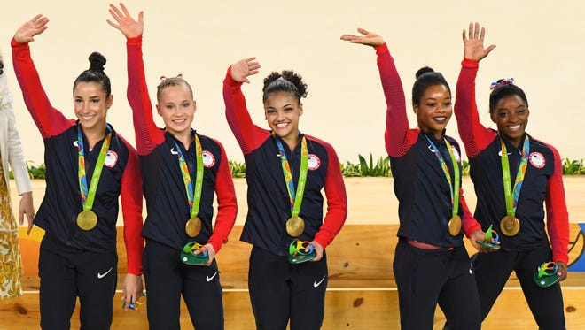 The U.S. women's gymnastics team (Aly Raisman, Madison Kocian, Laurie Hernandez, Gabby Douglas and Simone Biles) captured gold.