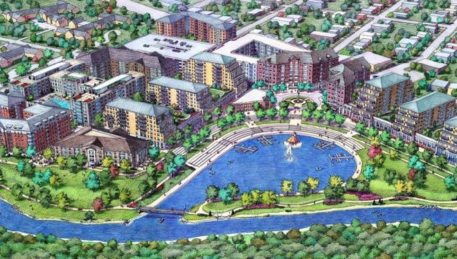 A concept drawing of what the proposed $750 million East Village development from 2005. The development stemmed from a vision to diversify the east side of town between Bogue Street and Hagadorn Road.