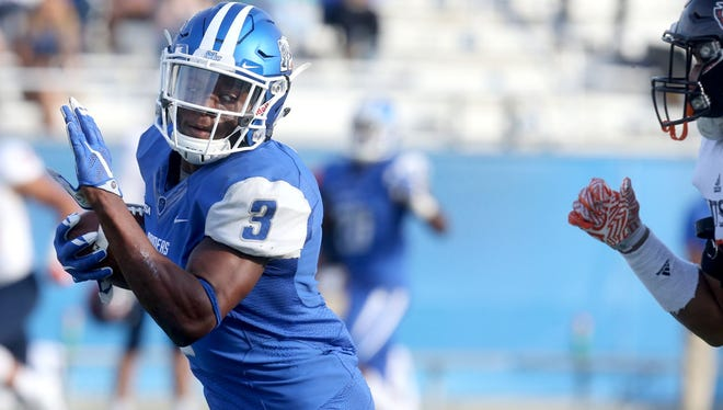 Is this the week MTSU wide receiver Richie James (3) and the Blue Raiders get their seventh win?