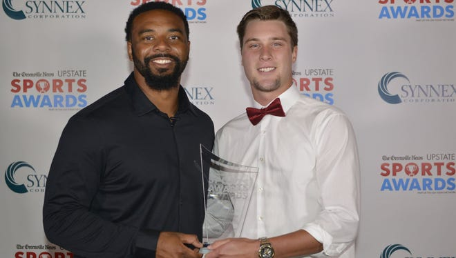 Logan Chapman, right, shown with former Clemson star Tajh Boyd after receiving The Greenville News All-Upstate Baseball Player of the Year award, has been named Gatorade South Carolina Player of the Year.